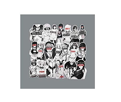 votgl zwart en wit karikatuur Bunny meisje Stickers Beauty Otaku Carriage Trend koffer Graffiti Sticker voor Notebook Mode 30 stks