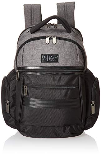 Original Penguin Unisex-Erwachsene Classics Backpack Fits Most 15-inch Laptop and Notebook Rucksack, Black/Grey Crosshatch, Einheitsgröße