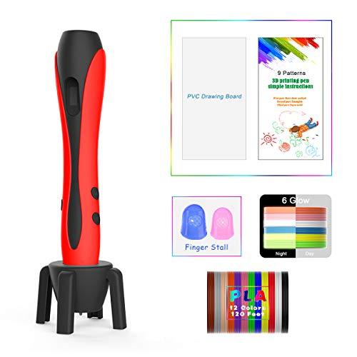 Penna 3D Rosso con Display LCD, Motore Militare, 2 Dita, 9 Stencil di Carta, 12 Colori PLA, 1 Portapenne/Compatibile con Filamenti PLA & ABS/JIAMA JM-B661