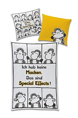 """tex idea GmbH Sheepworld Bettwäsche Schäfchen """"Ich hab Keine Macken."""", Baumwolle Bezug 135 cm x 200 cm, Kopfkissen 80 cm x 80 cm"""