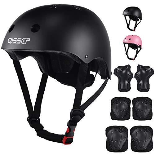 Qissep Schonerset Kinder Helm Schutzausrüstung Inliner Schützer Set Schutzausrüstung Knieschoner Ellenbogenschoner Handgelenkschoner für Skateboard Fahrrad Scooter Rollschuh (Schwarz)