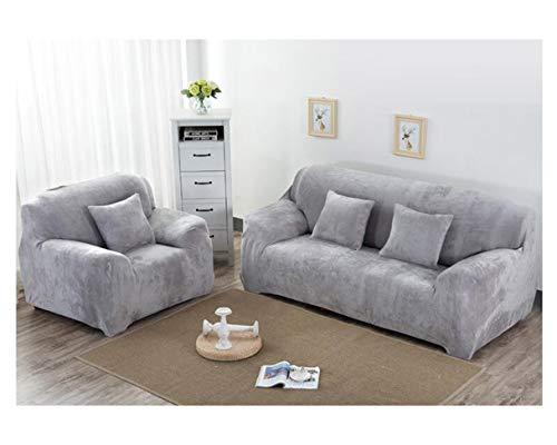 MISSMAO_FASHION2019 Dicke Sofaüberzüge Herbst Winter,1/2/3-Sitz-Überwurf,Sofa Schutzüberzug aus Samt Einfache Passform Stretch-Material für Couch Grau S(90-140cm)