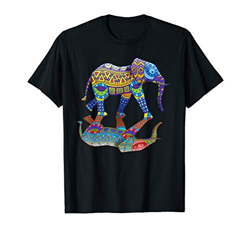 Farbenfroher witziger Elefant Frühlings- Farbenfest Geschenk T-Shirt