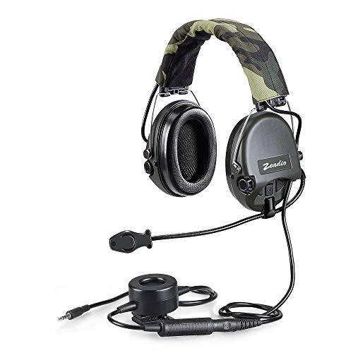 3.5mm Military Automatically Noise Cancelling Overhead Headset with Boom Microphone and Heavy Duty PTT for iphone, Samsung, LG, HuaWei, iPad, Ipad Mini, Pc Computers etc.