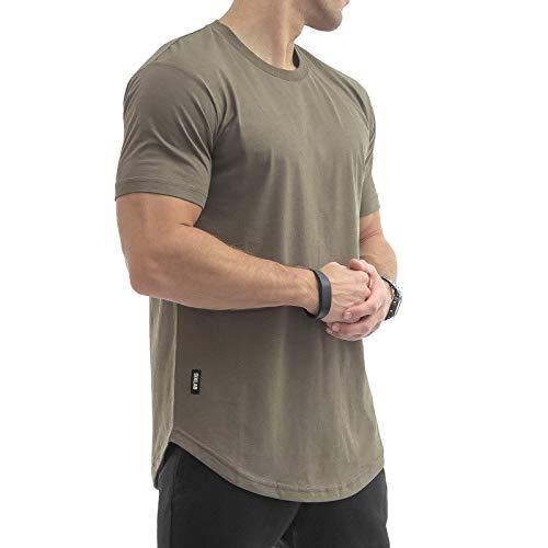Sixlab Round Tech Herren Oversize T-Shirt Muscle Basic Gym Fitness Shirt (Olive, XXL)