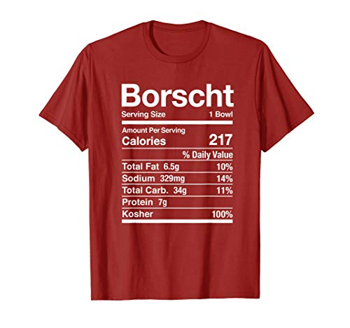 Borscht Nutrition Facts Jewish Kosher Food Hanukkah Passover T-Shirt