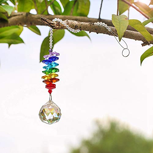 PERIWIN Boule en Verre, Attrape-Soleil Boule en Verre, Pendentif Arc-en-Ciel pour décoration d'arbre de Jardin