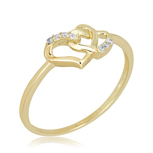 AVORA 10K Yellow Gold Double Heart Ring with Simulated Diamond CZ