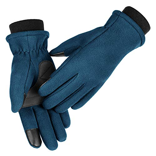 OZERO Winter Cycling Gloves for Girl Touch Screen Thermal Polar Fleece Hands Warm in Cold Weather X-Small Navy Blue