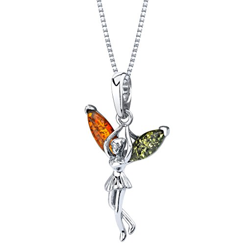 Peora Genuine Baltic Amber Fairy Pendant Necklace for Women in Sterling Silver, Rich Multiple Colors with 18 inch Chain