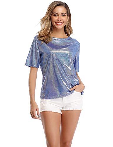 Dilgul Hauts et t-Shirts d'été pour Les Femmes Blouse étincelante holographique Scintillante étincelante métallisée - Bleu Brillant - 36-38/S