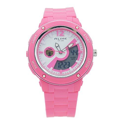 AUBIG ALIKE AK14105 Mädchen Jungen Outdoor Sports Armbanduhr Wasserdicht Dual Time Digital Analog Uhr Multifunktionsuhr mit Hintergrundbeleuchtung Display - Rosa