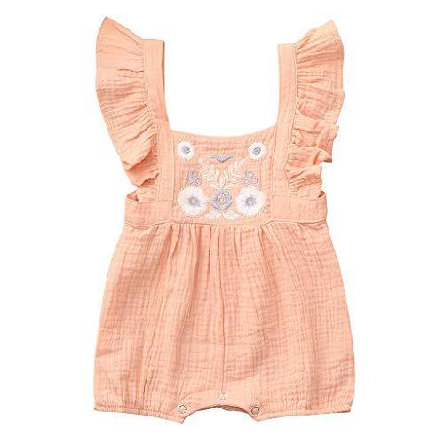 Mono para bebé de 0 a 2 años, de SO-buts, para recién Nacido, con Volantes de Verano, Color Liso, Bordado, Floral, Enterizo
