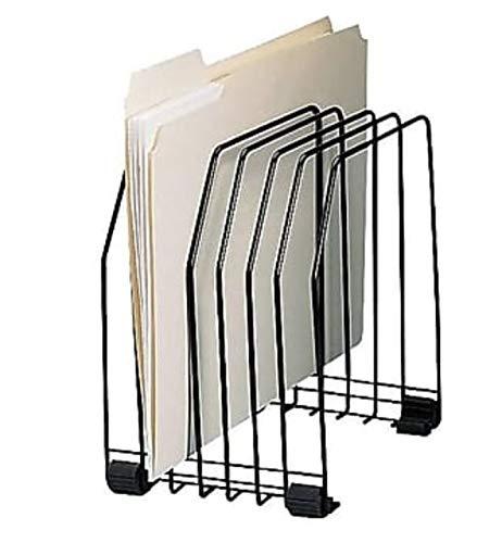 1InTheOffice Desk File Sorter, Black Metal Incline Sorter Organizer, 6 Compartments
