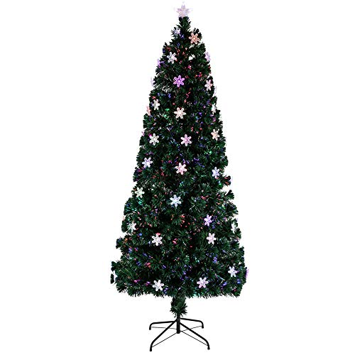 ZXHH 7FT Artificial Pencil Christmas Tree, Snow Flocked Artificial Pencil Christmas Tree Snow Flocked with Pine Cones and Metal Stand, for Xmas Indoor and Outdoor Décor (Dark Green)