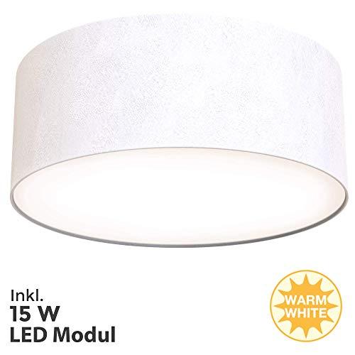 Briloner Leuchten LED Deckenleuchte, Stoffleuchte, Weiß, 1.350 Lumen, 3.000 Kelvin, Sonstige Metalle