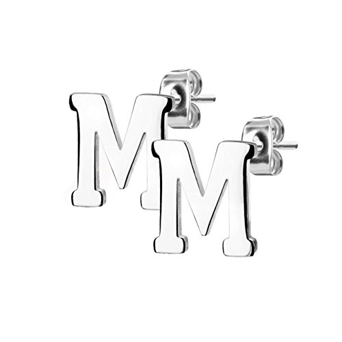 beyoutifulthings, 1paio di orecchini, INIZIALI ALFABETO, set di orecchini in acciaio inox, argento, oro rosa e Acciaio inossidabile, colore: argento, cod. SE3429S-ZM