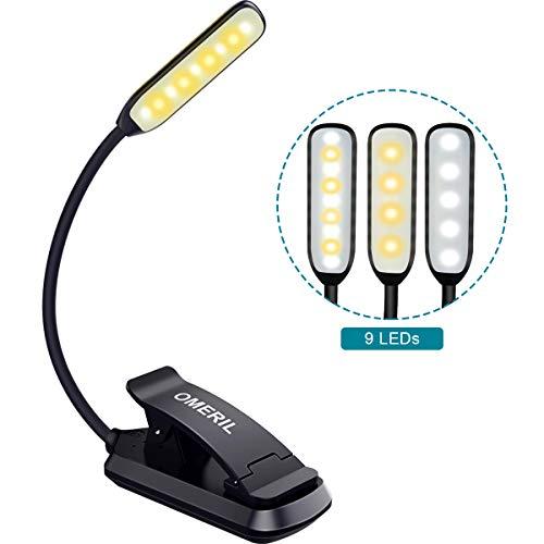 Leselampe Buch Klemme OMERIL Leselampe LED mit 9 LEDs, 3 Modus, Helligkeit Stufenlos Einstellbar, USB Wiederaufladbare Buchlampe LED Klemmleuchte Flexibel für Nachtlesen, Büro, Buch, Bett