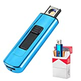 Electronic Lighter, Smart Electric Lighters, Mini USB Rechargeable Lighter,Double Sided Push-Out USB Socket Windproof Flameless Lighter Lightweight Plasma Lighter for Cigarette Boyfriends Gifts (Blue)