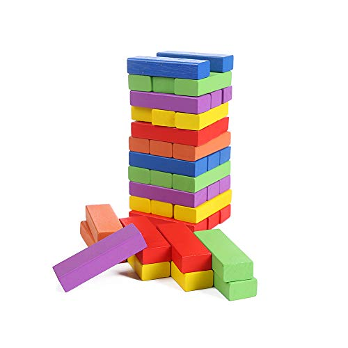 Lotus Wood Building BlocksStacked Game Stacking Height Inverted Tower Mixed Colors 48 PCS