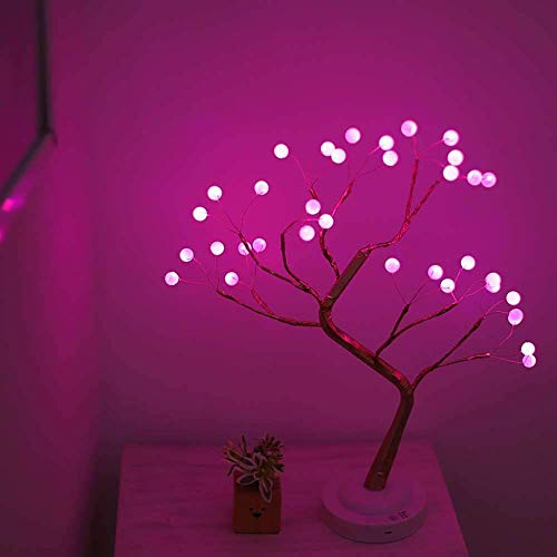 Led Bonsai Tree Light Artificial Light Tree 20 Inches,Battery/USB Operated,Adjustable Branches, for Home Decoration Night Light and Gift (Pink Glow-Pearl-Gold Branch)