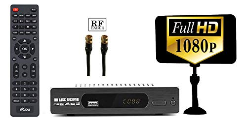 Best Buy! eXuby Digital DTV Converter Box for TV, Flat Indoor Antenna, RF Cable for Viewing & Record...