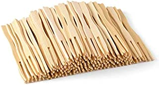 Bamboo Forks 3.5 Inch,(100pcs) Mini Food Picks for Party, Banquet, Buffet, Catering, and Daily Life. Two Prongs - Blunt En...