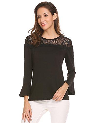Meaneor Damen Elegant Bluse Rundhals mit Spitzen Langarmshirt Casual Hemd Oberteil Tops Shirts mit Trompetenärmeln Schwarz-L