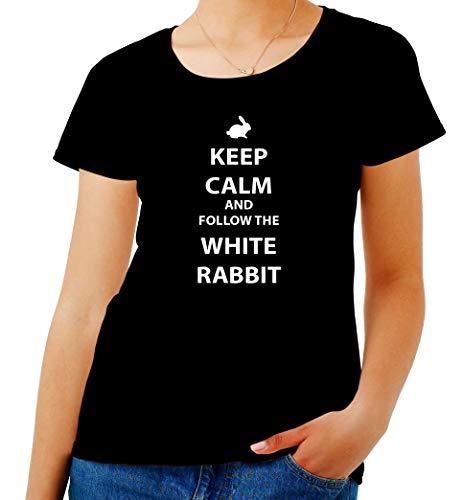 T-Shirt para Las Mujeres Negro FUN3841 tee Shirt Gris Keep Calm AMD Follow The White Rabbit