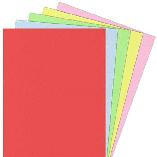 5 Colores, A4 300 g/m² Papel de Colores Cartulina Carton, 50 hojas