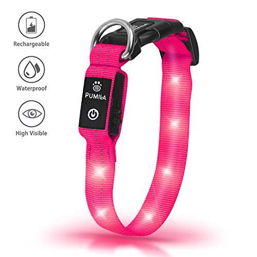 Pumila LED Hundehalsband Wasserdicht Leuchten Hundehalsband USB Wiederaufladbare Sicherheit Blinkende Hundehalsbänder Einstellbar Super Hell für Nacht Dunkel Erhöhte Sichtbarkeit - Rosa - XS