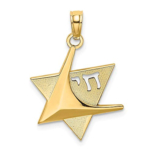 14k Yellow Gold Jewish Jewelry Star Of David Chai Pendant Charm Necklace Religious Judaica Fine Jewelry For Women Gifts For Her