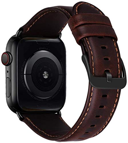 MroTech Compatible con iWatch 44mm Correa Cuero Piel Genuino Pulseras de Repuesto Replacment Watch Band for iWatch Series 6/SE Serie 5 Serie 4 Brazalete de Reloj, 44 mm Banda Café Hebilla Negr