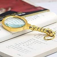 10XポータブルHDガラスレンズ拡大鏡、高齢者に適した、S本を読む、雑誌、ゴールド、72 * 150 * 18ミリメートル
