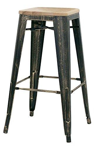 Brianza Outlet Keope kruk Industrial, metaal, bruin, 30 x 30 x 76 cm