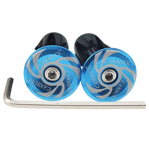 Toygogo 2X Fahrrad Lenkerendkappen Aluminium Fahrradgriffe Endkappen Fahrradlenker Endstopfen Lenkerstopfen mit Werkzeug - Blau