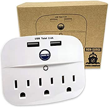 Cruise Power Strip No Surge Protector with USB Outlets - Ship Approved  Non Surge Protection  Cruise Essentials