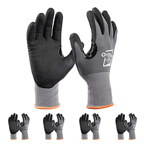 OriStout Safety Work Gloves with Grip (4 Pairs), Touchscreen, Breathable Micro Foam Nitrile Coated Gloves for Warehouse, Automotive, Construction, Gardening,Retail Large, Size 9