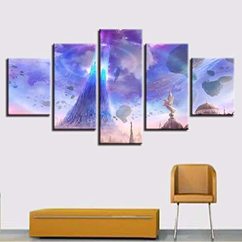 xzfddn Leinwand Gemälde Home Decor HD Drucke 5 Stücke Aion Angels Lichter Schwimmende Felsen Bilder Spiel Poster Modulare Wandkunst