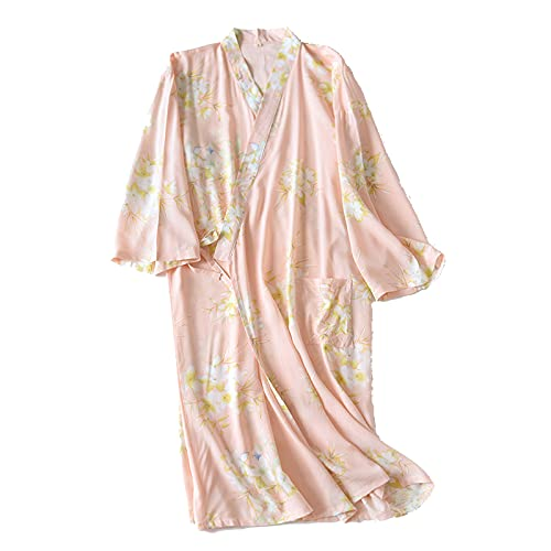 Pink-L - Albornoz para mujer, diseño de pijamas japonesas de seda para mujer, kimono, suave, kimono, delgado, cómodo dorso