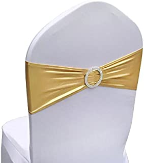 SINSSOWL 100PCS Stretch Wedding Chair Bands with Buckle Lycra Slider Sashes Bow Decorations 25 Colors (Bronzing Gold) …