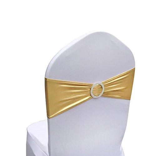 Lycra-Stuhlschärpen aus Stretch-Elastik mit Schnalle und Schleife, Polyester und Spandex, Bronzing Gold, 50PC