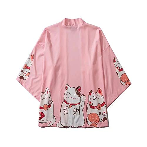 GODVC Estilo de Japón Ropa Verano de los Hombres Streetwear Impresión del Gato del Kimono Cardigan Mandarín Traje de los Hombres Unisex Japonesa Tendencia Kimonos (Color : Rosado, Size : L)