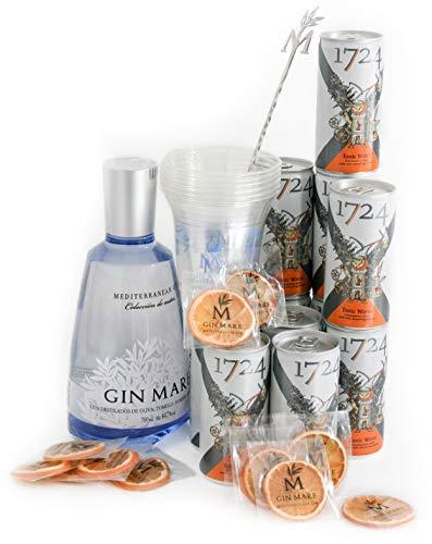 Gin Mare Home Bar - Ginebra Premium con 12 Tónicas Premium Seventeen, 12 Naranjas Deshidratadas, una Cucharilla Removedora y Vasos