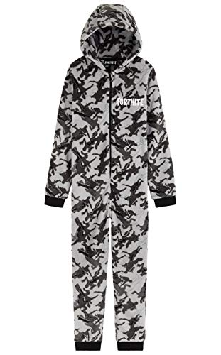 Fortnite Jumpsuit Kinder, Schlafanzug Jungen und Teenager, Camouflage Onesie Kinder, Kleidung, Gamer Geschenk, 122-164 (Camo Grau, 11-12 Jahre, 11_Years)