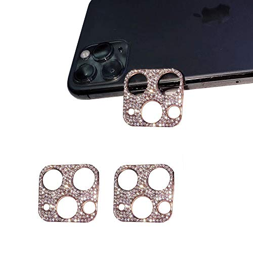 GSY Bling Crystal Camera Lens Protector for iPhone 11 Pro/iPhone 11 Pro Max, 2 Pack Rear Camera Cover 3D Bling Diamond Lens Cover Protective Ring Decoration Sticker Protector(rose gold)