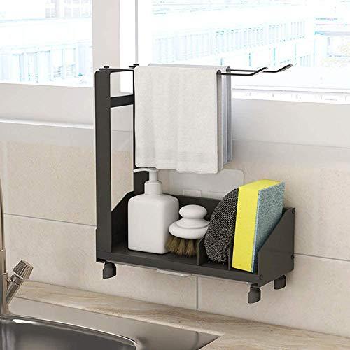 LUOWAN Estantes de cocina para lavavajillas con Toallero, Organizador de fregadero de cocina con bandeja extraíble, Soporte para jabón y esponja Adhesivo & Encimera, 26 x 21 x 8,5 cm