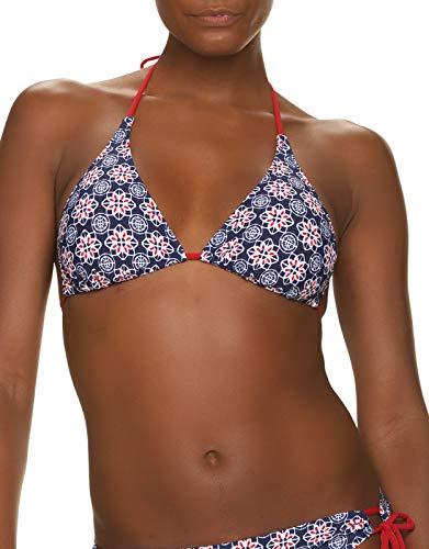 Helen Jon Women's String Bikini Swimwear Top Navy and Red Compass Geo Print