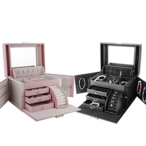 Mesa de cajones de escritorio de maquillaje de múltiples capas, soporte de caja de almacenamiento de joyería con cerradura, caja de almacenamiento de joyería de gran capacidad, caja de almacenamiento