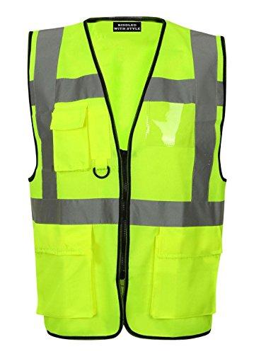 FASHION FAIRIES Hi VIS Hoge Zichtbaarheid Vest Top Mens Jongens Executive Werk Reflecterende Waistcoat